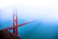 Erasing Away the Golden Gate Bridge - San Francisco Bay, CA (Daniel Peckham) Tags: sf sanfrancisco california ca morning fog foggy windy photoblog goldengatebridge goldengate bayarea sfbay