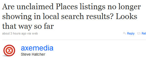 Unclaimed Places Pages in Google's New Places Search Results