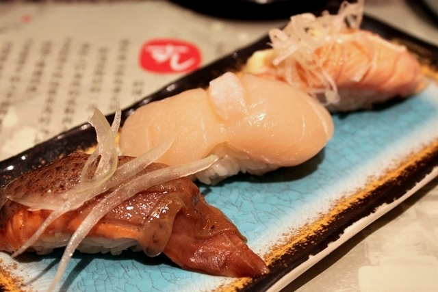 Salmon with soy sauce, Scallop and Aburi Salmon Belly