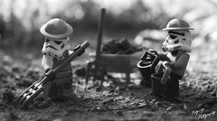 Life after the Empire (B&W Alternate) (RagingPhotography) Tags: lego star wars galactic empire imperial stormtrooper farming agriculture black white old school past outside outdoor plastic minifigure minifig figures toy crops water buckets ragingphotography d3300