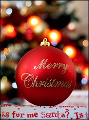 HAPPY CHRISTMAS EVERYONE (Darren Speak) Tags: santa christmas red tree lights bokeh presents merry bauble