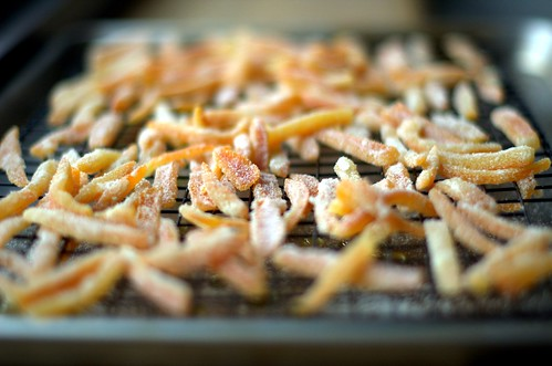 Homemade candied orange peels