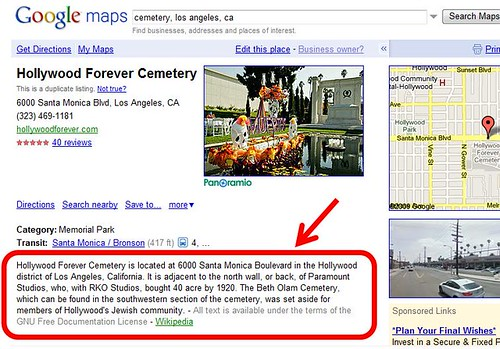 Hollywood Forever Cemetery Place Page on Google Maps