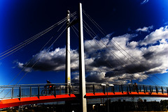 Crossing // Cruzando (pasotraspaso. Jesus Solana Fine Art Photography) Tags: bridge blue red sky azul clouds puente photography spain rojo nikon europe crossing cross photos cielo nubes cruzar nikond80 pasotraspaso jesussolana