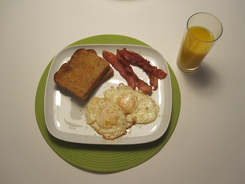 Toast, bacon, eggs, OJ