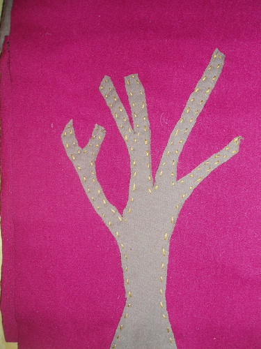 tree applique close-up
