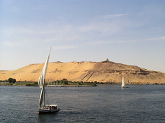 The Nile, Aswan, Egypt (Tanyamcaleer) Tags: trees beauty ferry river landscape boats outdoors sand day view desert dunes egypt peaceful nopeople calm nile aswan shrubs felucca