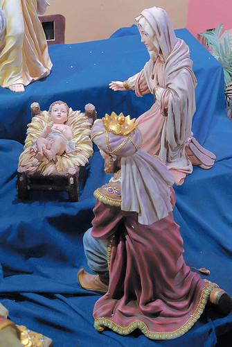 Nativity figures at Saint Joseph Roman Catholic Church, in Manchester, Missouri, USA