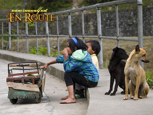 Banaue Dog and Kids Hanging Out