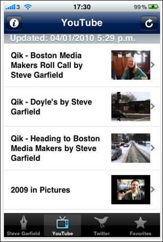 Steve Garfield iPhone App - YouTube Videos