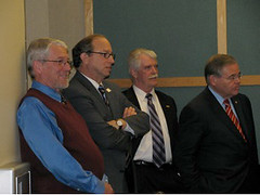 Senator Bob Menendez (far right); Donald Swartz, Director Economic Development South Jersey;  NJ Secretary of Agriculture Doug Fisher; Dean Robert Goodman, Rutgers University participate in the New Jersey Jobs and Economic Growth Forum