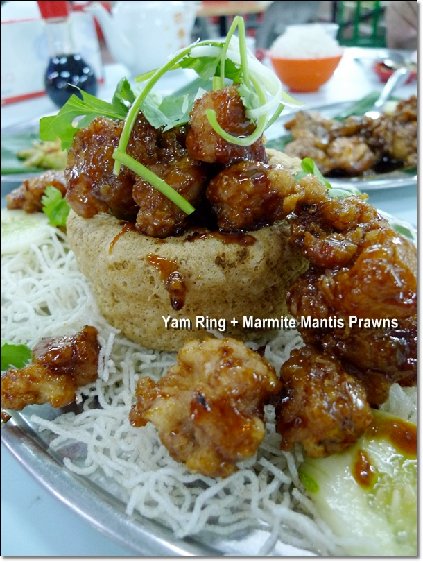 Marmite Mantis Prawns in Yam Ring