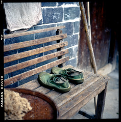 road (vivienne*) Tags: china road stilllife 6x6 film shoes kodak details lifestyle silence worn e100vs planar    tulou  rolleiflex35f     worldsheritage  ilikehowtheedgeslightlytilt