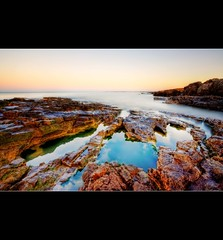 """"""" OGWR ROCKSCAPE """" (Wiffsmiff23) Tags: ocean sea pool sunrise reflections saturated weeds rocks turquoise rugged ogwr manfrotto hoya ogmorebysea nd8 wiffsmiff23"""