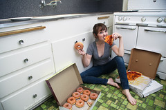 Pizza and donuts, vote for me! (laurenlemon) Tags: me kitchen interestingness pizza explore delicious donuts hungry frontpage 2009 emptyhouse explored canoneos5dmarkii laurenrandolph laurenlemon