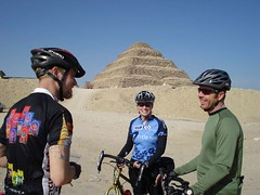 Tour d'Afrique 2010 riders near Sukkara pyramids