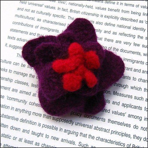 purple and red felted brooch