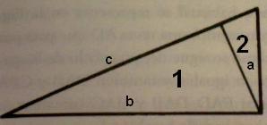 Figura 5: Los tres triángulos rectángulos de la figura (el mayor y los dos más pequeños) son semejantes.