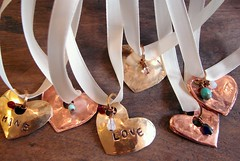 DSC09201 (Stephanie Distler) Tags: love hammered heart copper brass forged valentinesday pendants
