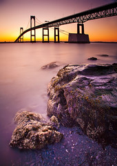 Narragansett Bay Sunrise (chris lazzery) Tags: longexposure sunrise rhodeisland newport 5d jamestown newportbridge narragansettbay canonef1740mmf4l claibornepellnewportbridge bw30nd