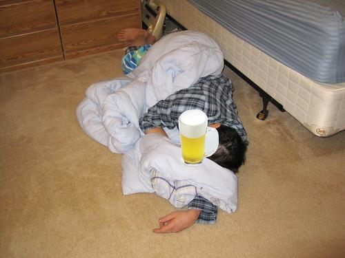 He slept on the floor, again.