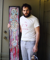 Artist Justin Aerni With Alien Boy (justinaerni) Tags: new nyc boy art halloween monster skull book corn punk chelsea artist candy 33 outsider vampire famous ghost alien gothic emo goth ripped cyclops ufo pop fox 1984 horn magical 2009 ghoul 2010 brut alienboy justinaerni magarg