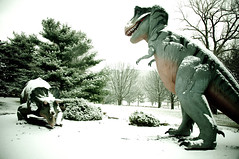 Dinosaurs vs. Ice Age: The Sequel (Herkie) Tags: snow dinosaurs forestpark