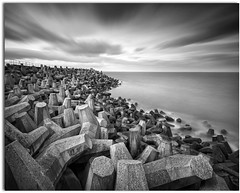 Defences (blue fin art) Tags: longexposure winter sea bw concrete scotland defences torness canon7d