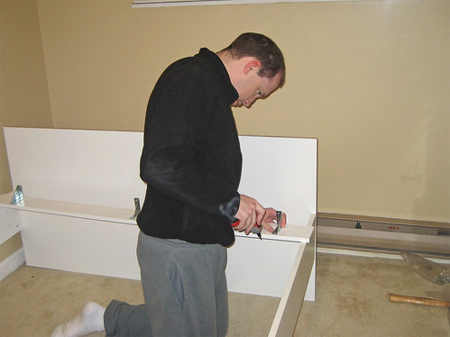 Jon assembling the bed