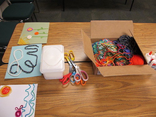 Setting up for the yarn painting craft