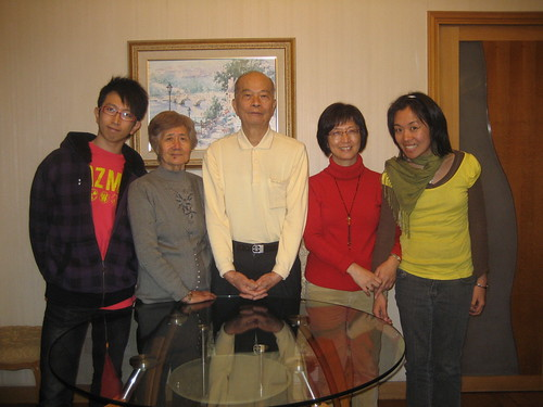 My cousin, my aunt's parents, my aunt and me!