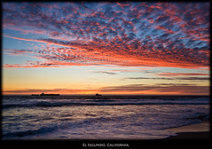 Another Southern California Sunset (szeke) Tags: ocean california sunset usa beach clouds landscape boat us losangeles ship unitedstates pacific manhattanbeach elsegundo 2010 oiltanker nikcolorefex imagenomic szeke