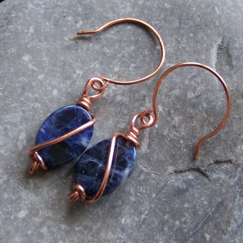 Copper and sodalite earrings