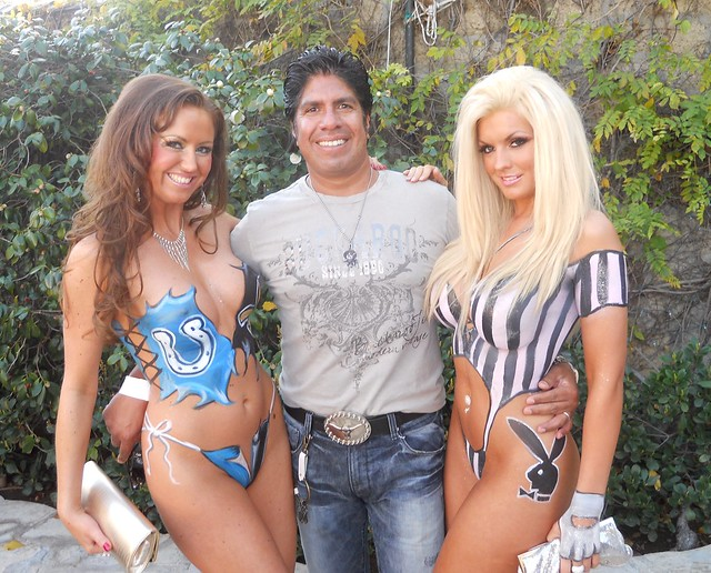 Verena Twigg, Gordon Vasquez, Coleen Connolly, Playboy Mansion Superbowl Party