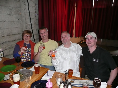 Judy Ashworth, Stephen Beaumont, me & Peter Hoey at the Pliny the Younger release