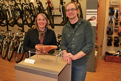 Tobie and I. (.Kara.) Tags: saddles brooks northcentralcyclery karaginther saddleworks