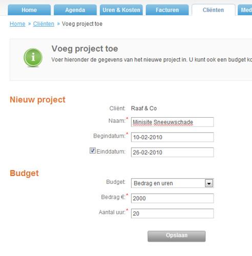 """KLIK OM TE VERGROTEN: Fig. III - Nieuw project aanmaken en budget ingeven, via """"Project toevoegen"""" (via optie 1)"""