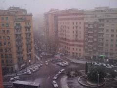 Roma, piazzale delle provincie, nella neve