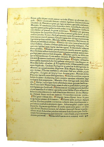 Manuscript paragraph marks and annotations in Commentarii in Juvenalem