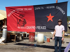 Walking around San Cristobal - Jules by the Zapata flag.