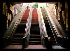 Bart Station / 16th St @ Mission St. (swampzoid) Tags: sanfrancisco stairs escalator steps bart trainstation themission upward transportaion missionstreet 16thst