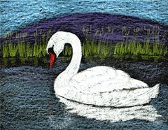 Swan Pond (traqair57) Tags: lake bird art water birds scotland chalk swan pond drawing wildlife scottish swans loch crayons stushie