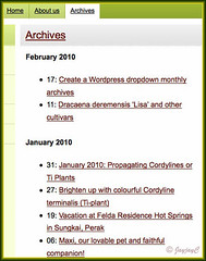 Screen shot of Archives Page, using the WP-Archives plugin