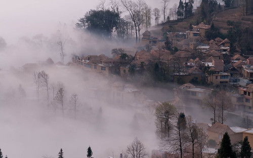 Fog brushing the village