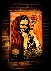 (Fritenks) Tags: woman london art artist gallery peace shepardfairey everythinghasaprice theblackratpress