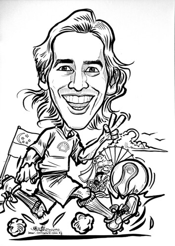 Soccer caricature in ink for Shell