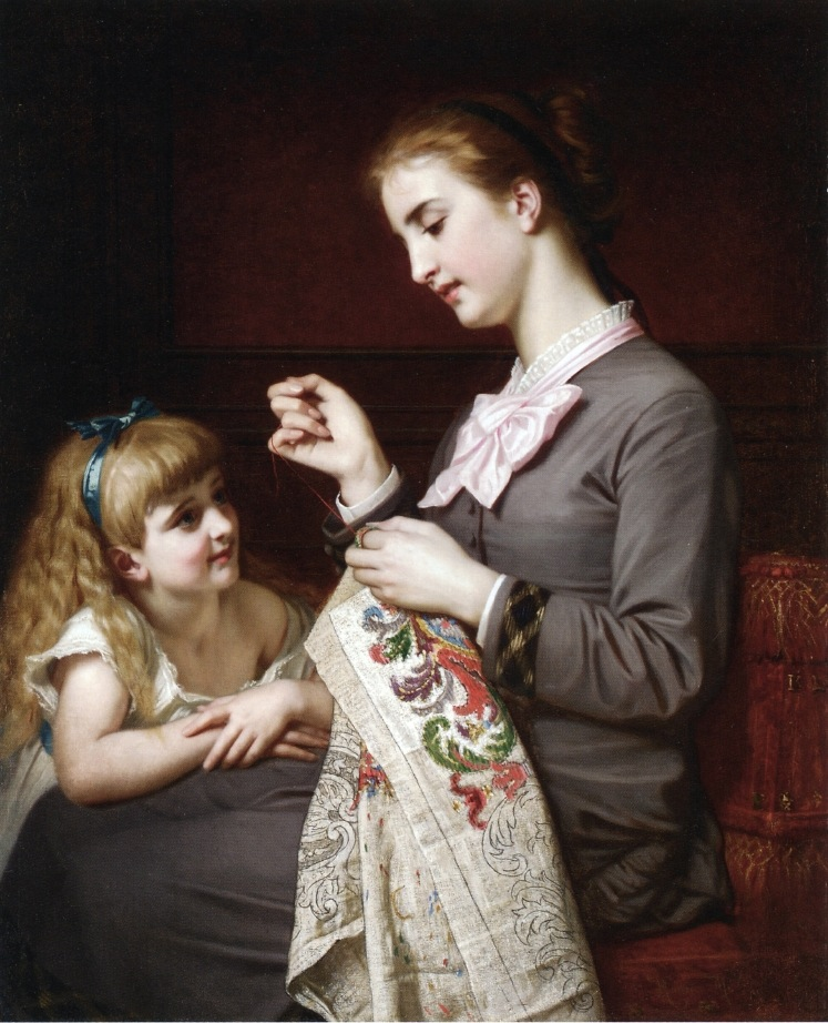 Hugues Merle (French, 1823-1881) The Embroidery Lesson (Date Unknown) Oil on canvas 39 1/4 X 31 5/8 in.