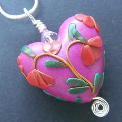 Blossom Heart (Pips Jewellery Creation) Tags: uk pink flowers green leaves necklace aqua purple handmade teal polymerclay bracelet pearl individual tendrils swarovskicrystal pcagoe pipsjewellery pipsjewellerycreations