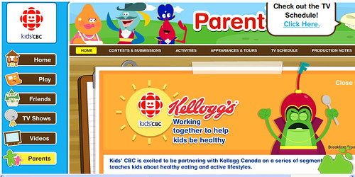 CBC Kids morning sponsored by Kelloggs - screengrab image copied from weightymatters.ca