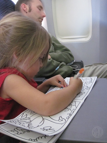coloring next to the sleeping guy